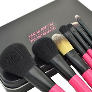 Stylish 7 Pcs Soft Germproof Pony Hair Makeup Brushes Set with Iron Box -