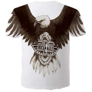 Fashion Round Neck 3D Eagle Print Slimming Short Sleeves T-Shirt For Men -