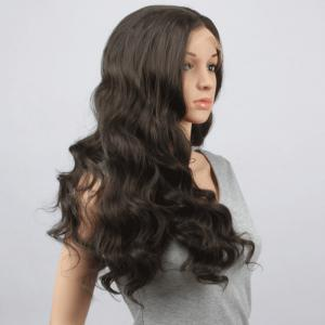 Charming Long Centre Parting Fluffy Body Wavy Black Brown Synthetic Lace Front Wig For Women -
