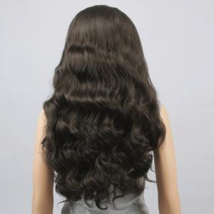 Charming Long Centre Parting Fluffy Body Wavy Black Brown Synthetic Lace Front Wig For Women - BLACK BROWN