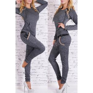 Chic Hooded Long Sleeve Sequin Embellished Women's Activewear Suit