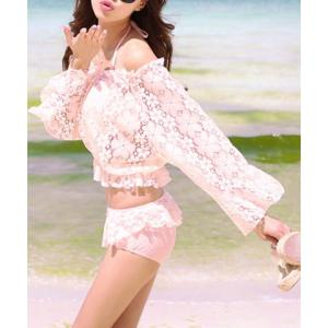 Cute Halter Lace Ruffled Three-Piece Swimsuit For Women -