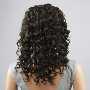 Fashion Long Synthetic Towheaded Curly Black Brown Lace Front Wig For Women -