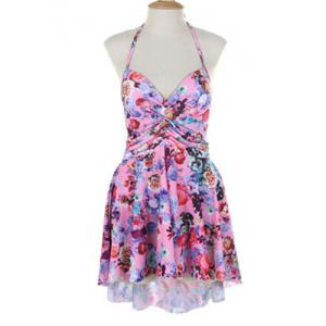 Sexy Halter Floral Print Asymmetrical Two-Piece Women's Swimsuit -