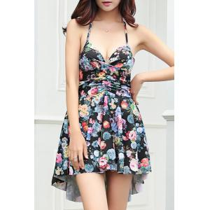 Sexy Halter Floral Print Asymmetrical Two-Piece Women's Swimsuit