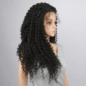 Trendy Black Long Synthetic Fluffy Kinky Curly Lace Front Wig For Women - BLACK