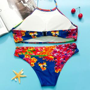 Colorful Halter Butterfly Pattern Bikini Set For Women - COLORMIX S