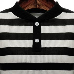 Graceful Stand-Up Collar 3/4 Sleeve Striped Knitting Dress For Women - BLACK 3XL