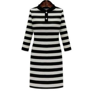 Graceful Stand-Up Collar 3/4 Sleeve Striped Knitting Dress For Women