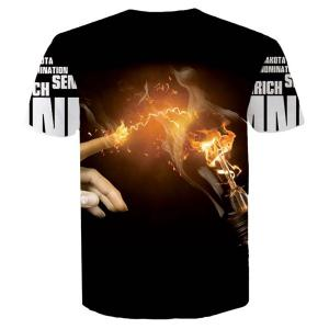 Letters Hand Flame 3D Printed Round Neck Short Sleeves Slim Fit T-Shirt For Men - BLACK L