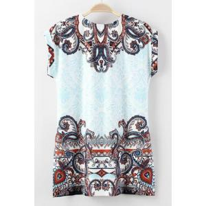 Retro Style Round Collar Short Sleeve Printed Furcal Women's T-Shirt - WHITE S