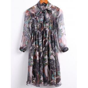 Vintage Bow Tied Collar 3/4 Sleeve Multicolor Printed Chiffon Dress For Women - Green - L