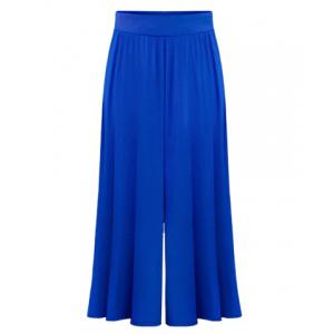 High Waist Plus Size Palazzo Pants - Sapphire Blue - 4xl