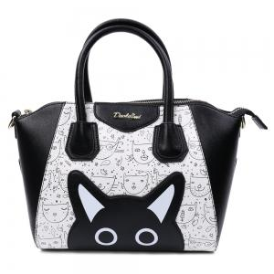 Casual Color Block and Printed Design Tote Bag For Women - Black