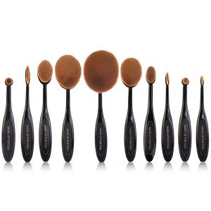 Stylish Multipurpose 10 Pcs ToothBrush Shape Fine Fiber Makeup Brushes Set with Gift Box - Black