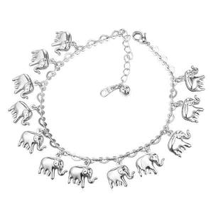 Elephant Charm Anklet - Silver