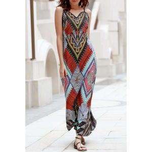 Elegant Spaghetti Strap Low Back Printed Women's Boho Dress - Colormix - S