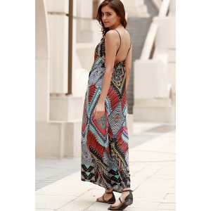 Elegant Spaghetti Strap Low Back Printed Women's Boho Dress - COLORMIX XL