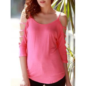 Stylish Scoop Neck Cut Out 3/4 Sleeve Pure Color T-Shirt For Women - Pink - Xl