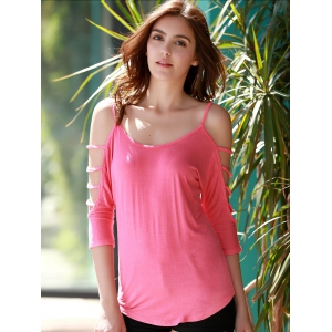 Stylish Scoop Neck Cut Out 3/4 Sleeve Pure Color T-Shirt For Women - PINK S
