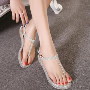 Simple Rhinestone and Flat Heel Design Sandals For Women -