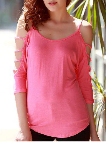 Fashion Stylish Scoop Neck Cut Out 3/4 Sleeve Pure Color T-Shirt For Women PINK S