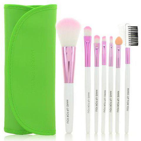 Hot Stylish 7 Pcs Germproof Fiber Makeup Brushes Set with PU Leather Brush Bag
