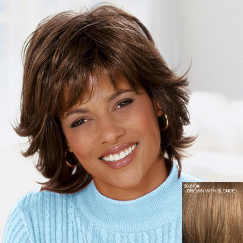 Sale Spiffy Short Side Bang Fluffy Wavy Capless Real Natural Hair Wig For Women