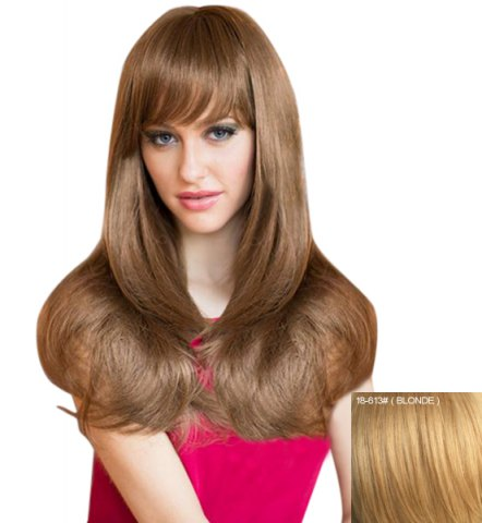 Shop Attractive Natural Straight Capless Sweet Long Layered Human Hair Wig For Women - BLONDE  Mobile