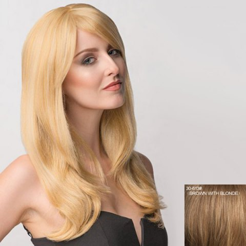 Unique Attractive Long Inclined Bang Shaggy Wavy Capless Human Hair Wig For Women