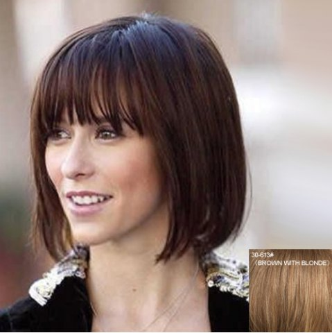 Latest Noble Short Natural Straight Vogue Full Bang Capless Human Hair Wig For Women