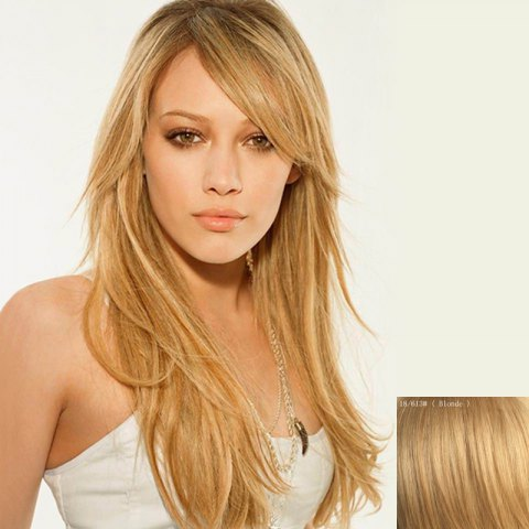 Fashion Attractive Long Side Bang Capless Fluffy Wavy Human Hair Wig For Women