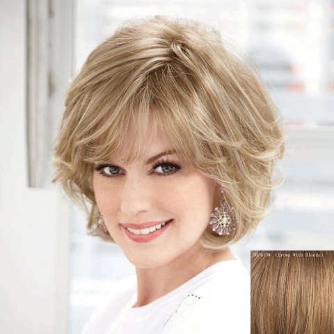 Shop Women's Curly Ladylike Fluffy Side Bang Short Human Hair Wig