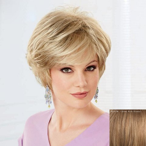 Unique Women's Curly Trendy Fluffy Side Bang Short Human Hair Wig