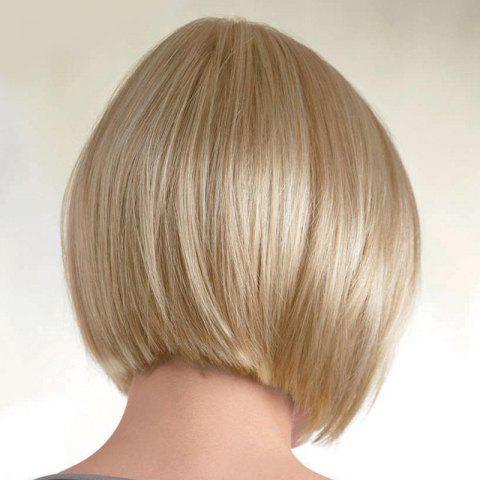 Store Women's Fashion Capless Bob Style Human Hair Straight Wig - BROWN WITH BLONDE  Mobile