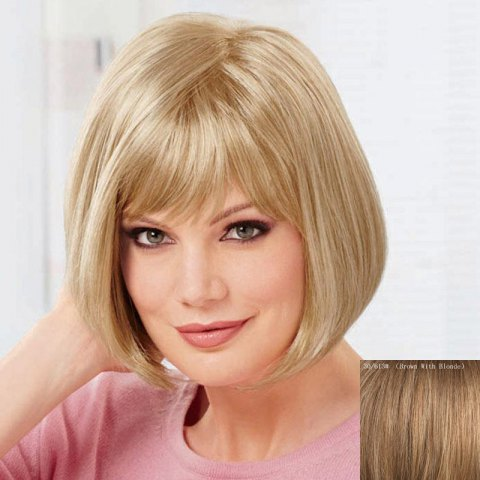 Fancy Women's Fashion Capless Bob Style Human Hair Straight Wig BROWN/BLONDE