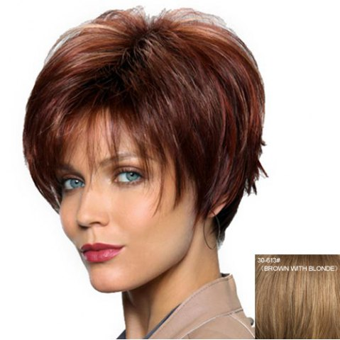 Fashion Women's Fashion Capless Side Bang Human Hair Straight Wig