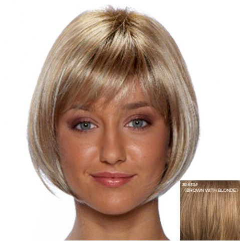 Fashion Fashion Capless Side Bang Human Hair Straight Wig For Women