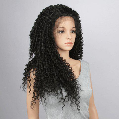 Unique Trendy Black Long Synthetic Fluffy Kinky Curly Lace Front Wig For Women BLACK