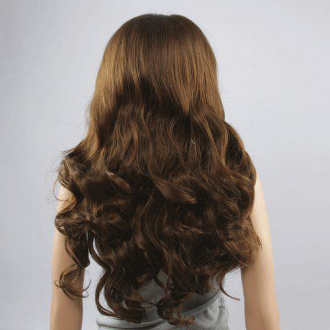 Fancy Stunning Long Middle Part Fluffy Wavy Dark Brown Lace Front Wig For Women - DEEP BROWN  Mobile