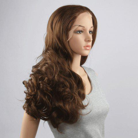 Sale Stunning Long Middle Part Fluffy Wavy Dark Brown Lace Front Wig For Women - DEEP BROWN  Mobile