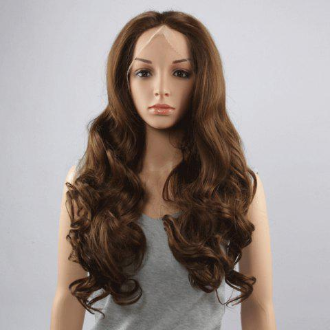 Shops Stunning Long Middle Part Fluffy Wavy Dark Brown Lace Front Wig For Women