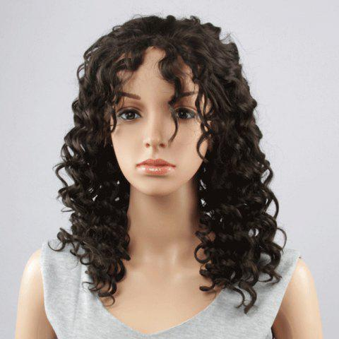 Fancy Fashion Long Synthetic Towheaded Curly Black Brown Lace Front Wig For Women