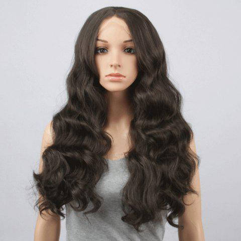 Charming Long Centre Parting Fluffy Body Wavy Black Brown Synthetic Lace Front Wig For Women - Black Brown - 26inch