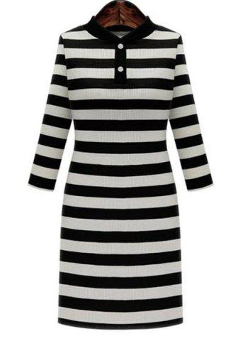 Shop Graceful Stand-Up Collar 3/4 Sleeve Striped Knitting Dress For Women BLACK 3XL
