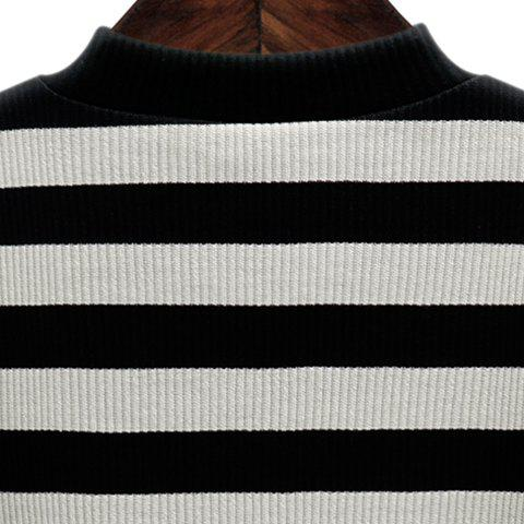Outfits Graceful Stand-Up Collar 3/4 Sleeve Striped Knitting Dress For Women - 2XL GRAY Mobile