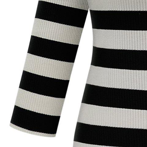 New Graceful Stand-Up Collar 3/4 Sleeve Striped Knitting Dress For Women - 2XL GRAY Mobile