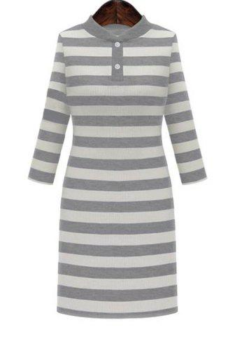 Online Graceful Stand-Up Collar 3/4 Sleeve Striped Knitting Dress For Women - 2XL GRAY Mobile
