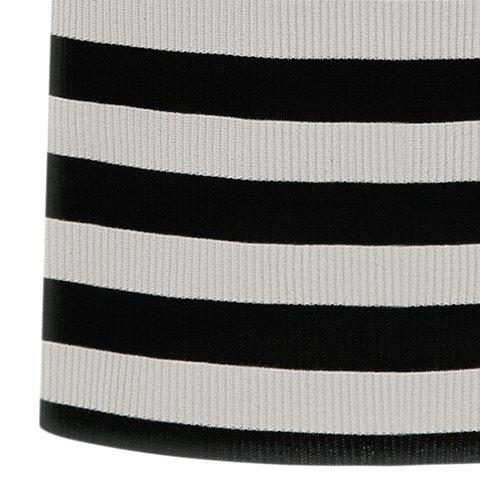 Store Graceful Stand-Up Collar 3/4 Sleeve Striped Knitting Dress For Women - 2XL GRAY Mobile