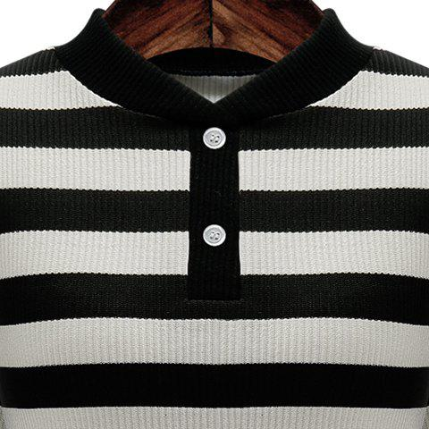 Discount Graceful Stand-Up Collar 3/4 Sleeve Striped Knitting Dress For Women - 2XL GRAY Mobile
